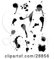 Clipart Illustration Of A Set Of Black And White Ink Splatters