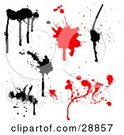 Clipart Illustration Of A White Background With Four Black Ink Splatters And Two Red Blood Splats