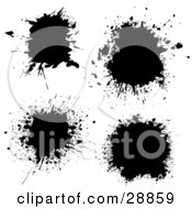 Clipart Illustration Of Four Black Ink Splatters On A White Background