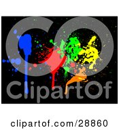 Clipart Illustration Of Blue Red Green Orange And Yellow Dripping Ink Splatters On A Black Background by KJ Pargeter