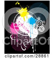 Clipart Illustration Of Yellow Blue And Pink Paint Splats Over A White Circle On A Colorful Dotted Background On Black by KJ Pargeter