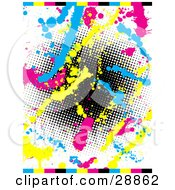 Clipart Illustration Of A White Background With A Gradient Black Dotted Circle Surrounded By Blue Pink And Yellow Paint Splatters And Colorful Bars On The Top And Bottom by KJ Pargeter