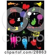 Set Of Orange Red Purple Green Yellow Pink White And Blue Ink Splatters On A Black Background