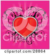 Clipart Illustration Of A Shiny Red Heart Traced In Silver With Black Vines Growing Around It Over A Bursting Pink Background