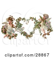 Clipart Picture Of A Vintage Valentine Of Two Adorable Cupids With Roses Beside A Gilded Forget Me Not Valentine Heart Wreath by OldPixels #COLLC28867-0072