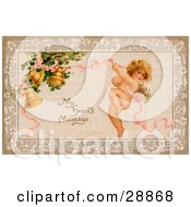Clipart Picture Of A Vintage Valentine Of Cupid Flying And Tugging On A Pink Ribbon Connected To Golden Ringing Bells With Text Reading My Hearts Message Circa 1910
