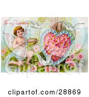Clipart Picture Of A Vintage Valentine Of Three White Doves Flying Around Cupid Aiming An Arrow At A Heart Made Of Pink Poppies And Blue Forget Me Nots Circa 1910 by OldPixels
