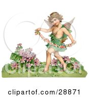 Clipart Picture Of A Vintage Valentine Of A Cupid Playfully Running Through A Garden And Carrying A Garland Of Flowers Circa 1888 by OldPixels