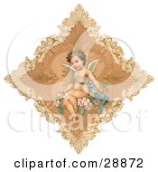 Clipart Picture Of A Vintage Valentine Of A Cute Cupid Draped In A Blue Ribbon Sitting On Pink Flowers In The Center Of A Delicate Diamond