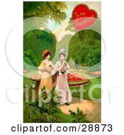 Clipart Picture Of A Vintage Valentine Of Two Ladies Strolling Through A Garden And Talking About A Man In The Background