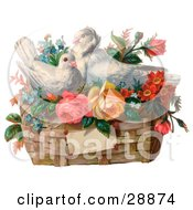 Vintage Valentine Of Two White Doves Nesting In A Basket Of Forget Me Nots And Roses Circa 1890