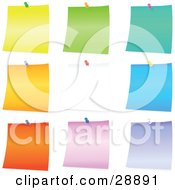 Set Of Yellow Green Blue Orange White Pink And Purple Blank Pieces Of Note Paper Tacked To A Board