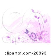 Clipart Illustration Of Silhouetted Pink Butterflies And Purple Plants With Faded Marks On White by Tonis Pan