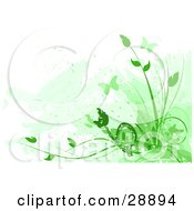 Clipart Illustration Of Silhouetted Green Butterflies And Plants With Faded Green Marks On White by Tonis Pan