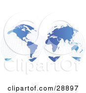Clipart Illustration Of An Unwrapped Gradient Blue Grid Map Of Planet Earth Showing The Continents Over A White Background by Tonis Pan