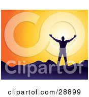 Clipart Illustration Of A Man Silhouetted In Blue Facing The Sun And Holding His Arm Out Symbolizing Freedom And Worship