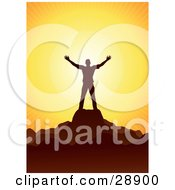 Clipart Illustration Of A Man Silhouetted In Brown Holding His Arm Out And Standing On A Mountain Top Welcoming The Warmth Of The Sun Symbolizing Worship
