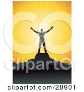 Shiny Man Silhouetted In Gray Standing On Top Of A Mountain And Embracing The Warmth Of The Sunlight Symbolizing Freedom And Worship