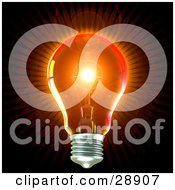 Clipart Illustration Of A Clear Light Bulb Emitting Bright Orange Light With A Flare In The Center Over Black Symbolizing Creativity And Energy by Tonis Pan