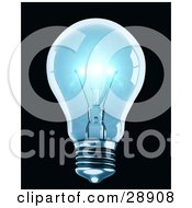 Clipart Illustration Of A Clear Blue Light Bulb Shining Brightly With Reflections On The Glass Over A Black Background by Tonis Pan