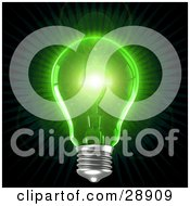 Clipart Illustration Of A Clear Light Bulb Emitting Bright Green Light Over A Black Background Symbolizing Inspiration And Creativity