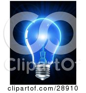 Clipart Illustration Of An Electric Light Bulb Glowing With Blue Light Symbolizing Inspiration And Creativity by Tonis Pan