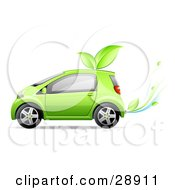 Green Compact Car Running Off Of Bio Fuel With Leaves On The Roof And Leaves Coming Out Of The Exhaust