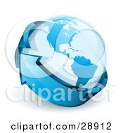 Clipart Illustration Of A Blue Shiny Arrow Circling Planet Earth