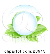 Clipart Illustration Of A Clear Orb Nestled In Green Dew Covered Leaves