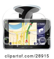 Clipart Illustration Of An Arrow Directing A Driver On The Screen Of A GPS