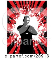 Clipart Illustration Of A Mostly Silhouetted Man Standing With His Arms Crossed With A White Grunge Splat In The Center Of A Bursting Black And Red Background