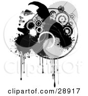 Clipart Illustration Of A Smiling Mans Face In Profile Looking Upwards In A Grunge Cluster Of Black And White Circles Drips And Splatters Over White