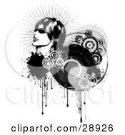 Clipart Illustration Of A Woman In Profile Wearing Sunglasses And Looking Up To The Left On A Cluster Of Black Dripping Grunge And Circles With A White Background