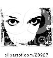 Clipart Illustration Of A Womans Face With Her Eyes Looking Upwards On A Black Background With White Grunge
