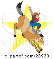 Clipart Illustration Of A Cowboy Waving While Riding A Bucking Horse In A Bronco A Yellow Star In The Background by Maria Bell