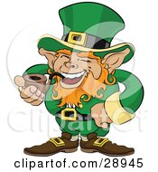 Jolly St Patricks Day Leprechaun With Red Hair Dressed In Green And Laughing While Smoking A Tobacco Pipe