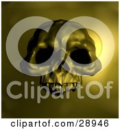 Clipart Illustration Of A Spooky Human Skull With Dark Eye Holes Over A Yellow Background by AtStockIllustration