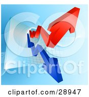 Clipart Illustration Of Blue And Red Profit And Loss Arrows On A Business Graph by AtStockIllustration