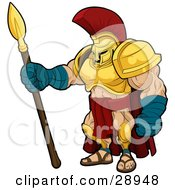 Muscular Spartan Or Trojan Gladiator Warrior In Golden Armor Standing With A Spear