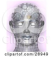 Chrome Wire Head With Glowing Eyes And Gears Working In The Brain Symbolizing Creativity Artificial Intelligence And Knowledge