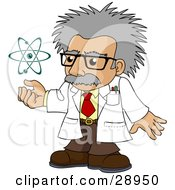 Clipart Illustration Of A Senior Gray Haired Scientist Holding His Hand Under A Spinning Galaxy by AtStockIllustration