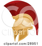Golden And Red Spartan Or Trojan Helmet Part Of Body Armor