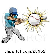 Clipart Illustration Of A Strong Athletic Caucasian Man In Uniform Swinging A Bat And Making Contact With A Baseball by AtStockIllustration