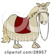 Clipart Illustration Of A Spooked Horse With A Red Blanket Over Its Back And Reins Hanging Down From Its Face