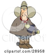 Chubby Cowboy In A Hat Boots And Spurs Pouring Coffee Into A Cup