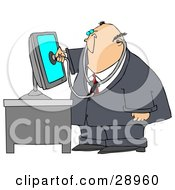 Clipart Illustration Of A Chubby Computer Repair Doctor Holding A Stethoscope Up To A Computer Monitor
