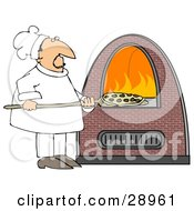 Clipart Illustration Of A Chef Inserting A Pepperoni Pizza Into A Brick Pizza Oven With Orange Flames On The Inside by Dennis Cox