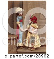 Vintage Clipart Picture Of Two Little Sisters At A Doorway Smiling And Holding Hands Circa 1880