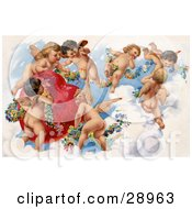 Clipart Picture Of A Vintage Valentine Of A Group Of Playful Cherubs In The Clouds Of Heaven Decorating A Red Heart In Floral Garlands Circa 1909 by OldPixels