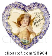 Clipart Picture Of A Vintage Valentine Of Cupid Smiling Inside A Purple Floral Forget Me Not Heart Circa 1890 by OldPixels